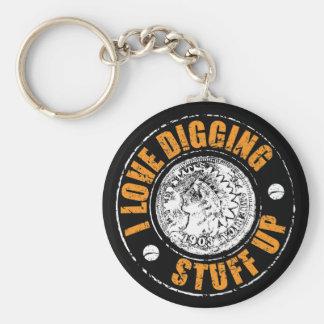 Metal detecting keychain, fun metal detecting gift basic round button keychain