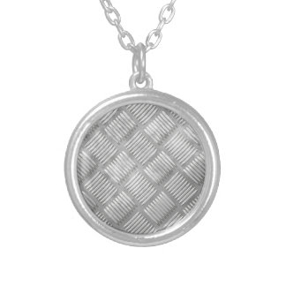 Metal diamond plate silver plated necklace