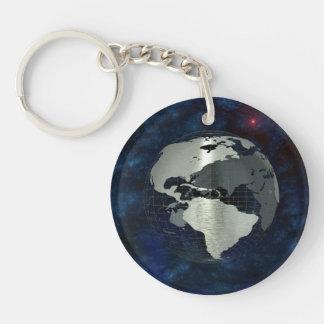 Metal Earth Globe Double-Sided Round Acrylic Keychain