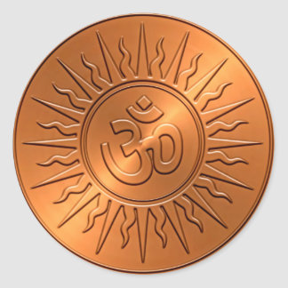 Metal Embossed Decorative Om Sign Round Sticker