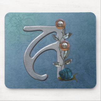 Metal Flowers Monogram A Mouse Pad