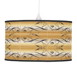 Metal Gold With Floral Ink Pattern Pendant Lamp