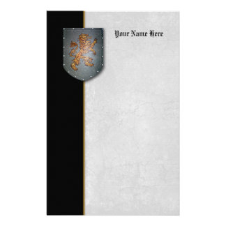 Metal Gray Shield Gold Lion Black Left Personalized Stationery
