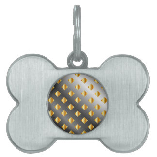 metal grid background pet ID tag