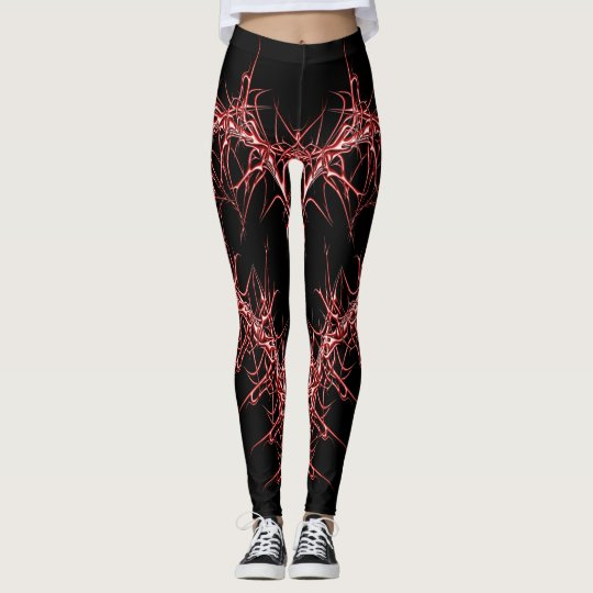 metal heart red leggings