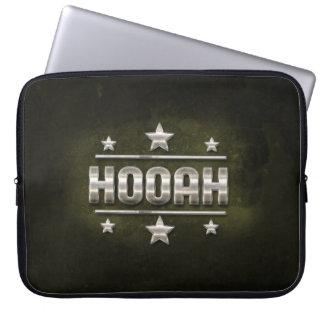 Metal Hooah Text Computer Sleeve