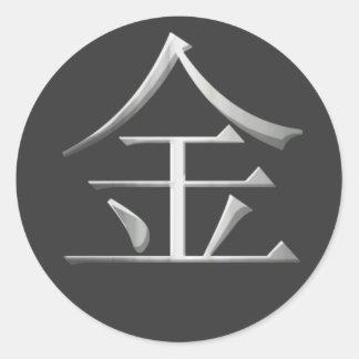 Metal Kanji Sticker