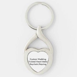 Métal KeychainKeyring de coeur tordu par mariage Porte-clé Argenté Cœur Torsadé