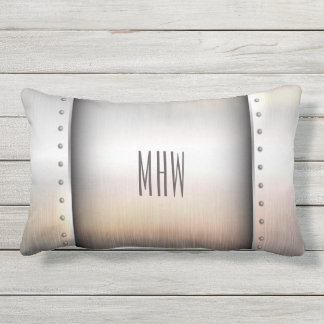 Metal Look custom monogram throw pillows