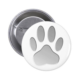 Metal-Look Dog Paw Print 2 Inch Round Button