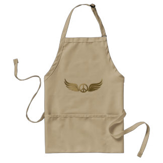 Metal look peace symbol with wings standard apron