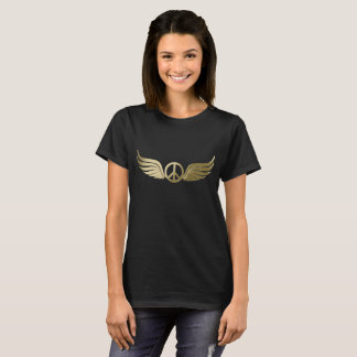 Metal look peace symbol with wings T-Shirt