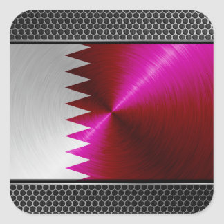 Metal-look Qatar Flag Square Sticker