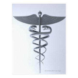 Metal medical caduceus postcard
