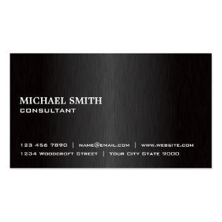 Métal moderne noir simple professionnel élégant modèle de carte de visite