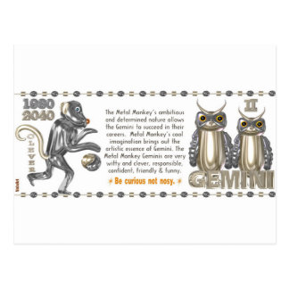 Metal Monkey zodiac born Gemini 1980 Postcard
