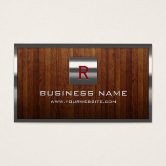 Metal Monogram Steel Border Wood Professional Business Card