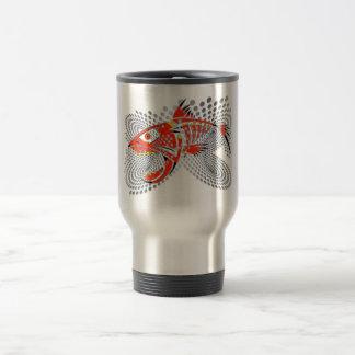 metal mug modern design angry fish