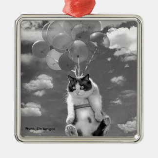 Metal Ornament: Funny cat flying with Balloons Metal Ornament