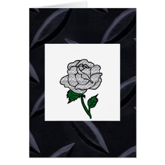 Metal rose blank note card