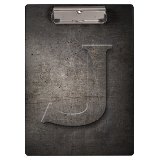 Metal Rustic J Monogram Clipboard