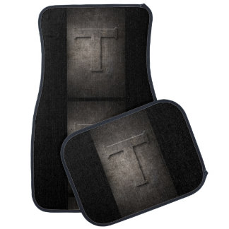 Metal Rustic T Monogram Set of Car Mats