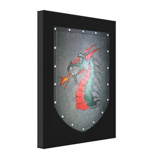 Metal Shield Dragon Canvas Print