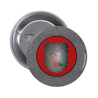 Metal Shield Dragon Chainmail Border Red 2 Inch Round Button
