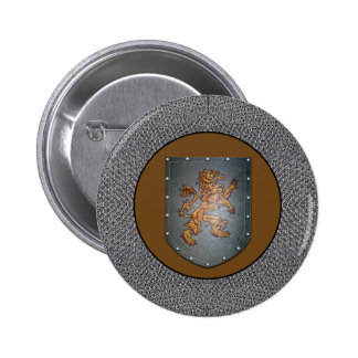 Metal Shield Lion Chainmail 2 Inch Round Button