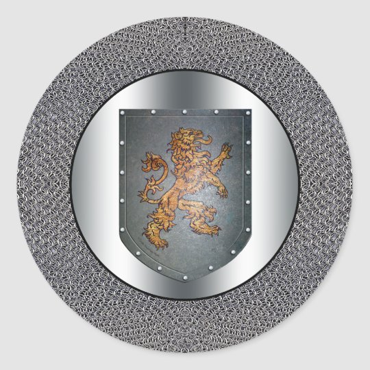 Metal Shield Lion Chainmail Classic Round Sticker