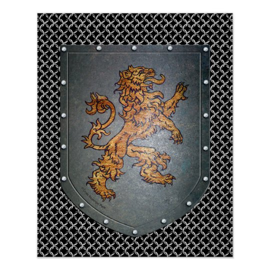 Metal Shield Lion Chainmail Poster