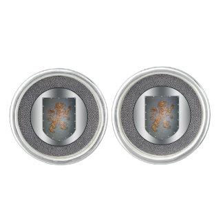 Metal Shield Lion Chainmail Silvery Cufflinks