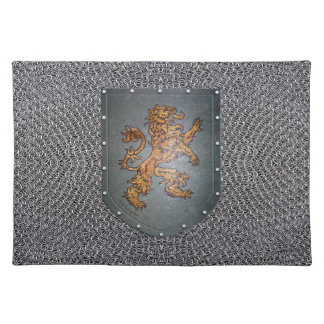 Metal Shield Lion Faux Chainmail Placemat