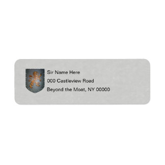 Metal Shield Lion Gray Faux Parchment Return Address Label