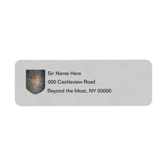Metal Shield Lion Grey Faux Parchment Return Address Label