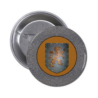 Metal Shield Medieval Lion Chainmail 2 Inch Round Button
