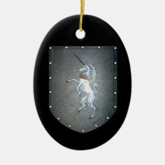 Metal Shield Rampant Unicorn Ceramic Ornament