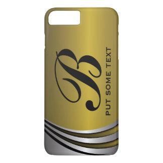 Metal silver grey and gold monogram custom iPhone 7 plus case