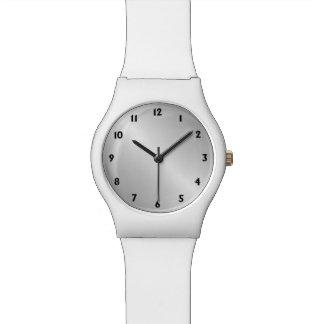 Metal Silver Look Black Numbers Wristwatch