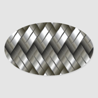 Metal Silver Pattern Oval Sticker