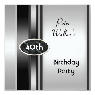 Metal Silver White Mens 40th Birthday Party Man Card