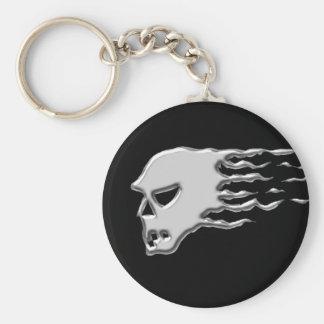 Metal skull basic round button keychain