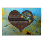 Metal Steampunk and Aqua Valentine Greeting Cards