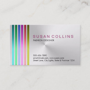 White and silver business cards profile cards zazzle ca metal steel professional clean striped aluminum business card reheart Image collections