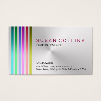 Metal Steel Professional Clean Striped Aluminum Business Card
