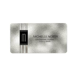 Metal Stripes on Glass Monogram Beige ID443 Label