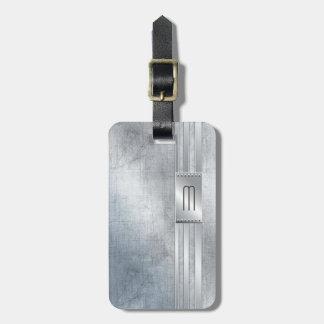 Metal Stripes on Glass Monogram Beige ID443 Luggage Tag