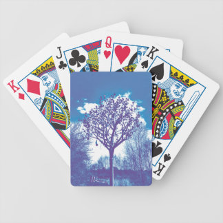 metal tree dull blue bicycle playing cards