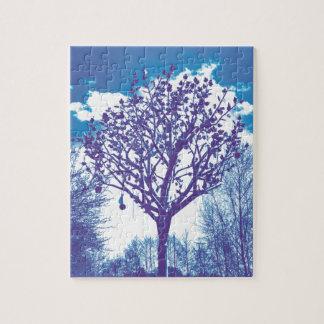 metal tree dull blue jigsaw puzzle