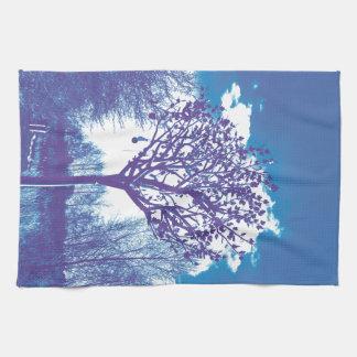 metal tree dull blue kitchen towel